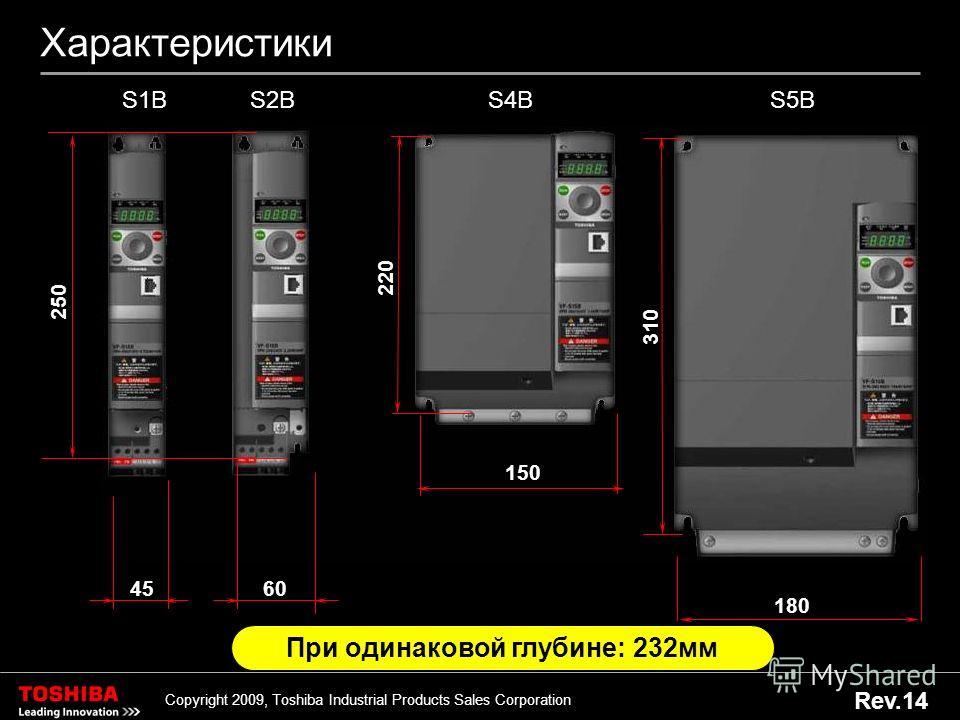 10 Copyright 2009, Toshiba Industrial Products Sales Corporation Rev.14 Характеристики 60 S2B 250 45 S1B 150 220 S4B 180 310 S5B При одинаковой глубине: 232 мм