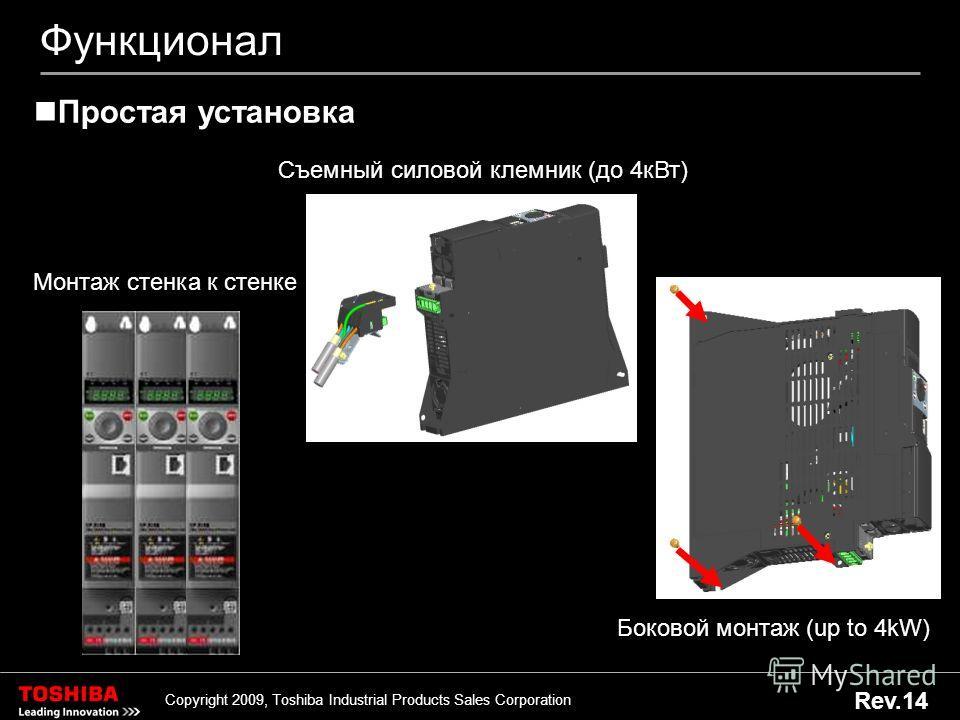 28 Copyright 2009, Toshiba Industrial Products Sales Corporation Rev.14 Функционал Боковой монтаж (up to 4kW) Простая установка Монтаж стенка к стенке Съемный силовой клемник (до 4 к Вт)