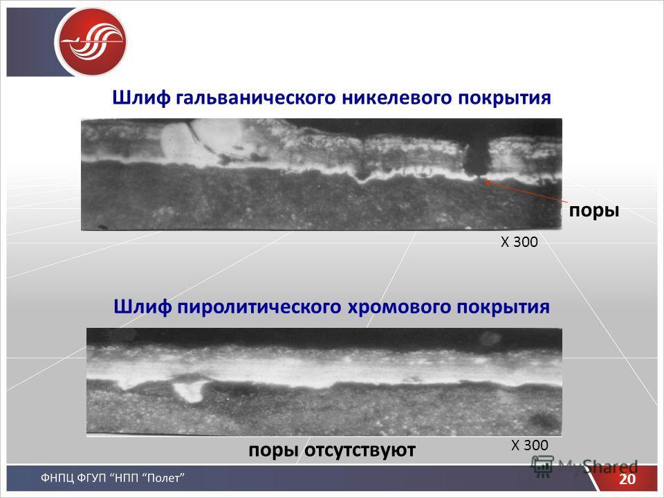 Шлиф гальванического никелевого покрытия Шлиф пиролитического хромового покрытия поры поры отсутствуют 20 Х 300