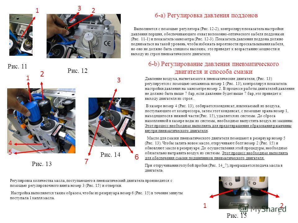 6-a) Регулировка давления поддонов Выполняется с помощью регулятора (Рис. 12-2), контролируя показатель настройки давления поршня, обеспечивающего охват волоконно-оптического кабеля поддонами (Рис. 11-1) и показатель манометра (Рис. 12-3). Показатель