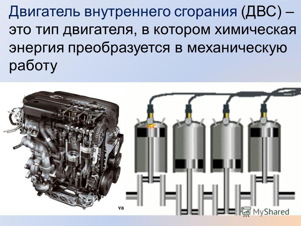Двигатель внутреннего сгорания (ДВС) – это тип двигателя, в котором химическая энергия преобразуется в механическую работу