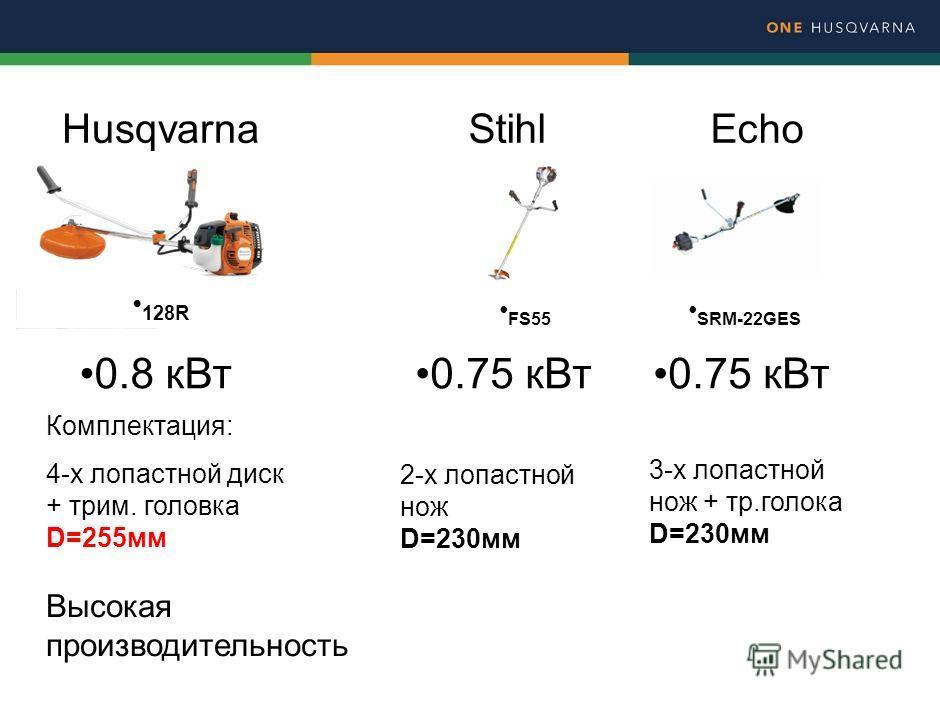 128R FS55 SRM-22GES HusqvarnaStihlEcho 0.8 к Вт 0.75 к Вт Комплектация: 4-х лопастной диск + трим. головка D=255 мм 2-х лопастной нож D=230 мм 3-х лопастной нож + тр.голока D=230 мм Высокая производительность