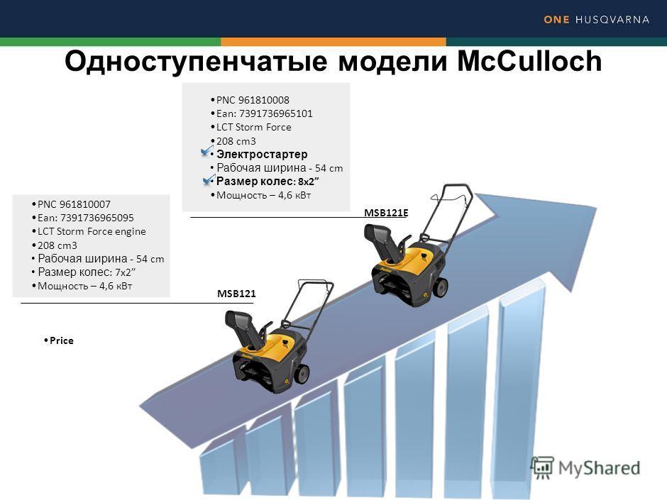 Одноступенчатые модели McCulloch MSB121E PNC 961810007 Ean: 7391736965095 LCT Storm Force engine 208 cm3 Рабочая ширина - 54 cm Размер колес : 7x2 Мощность – 4,6 к Вт MSB121 PNC 961810008 Ean: 7391736965101 LCT Storm Force 208 cm3 Электростартер Рабо
