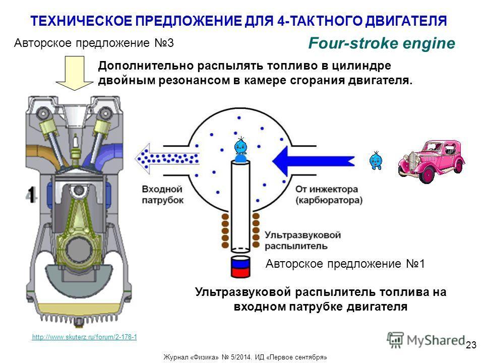 ТЕХНИЧЕСКОЕ ПРЕДЛОЖЕНИЕ ДЛЯ 4-ТАКТНОГО ДВИГАТЕЛЯ http://www.skuterz.ru/forum/2-178-1 Авторское предложение 3 Дополнительно распылять топливо в цилиндре двойным резонансом в камере сгорания двигателя. Авторское предложение 1 Ультразвуковой распылитель