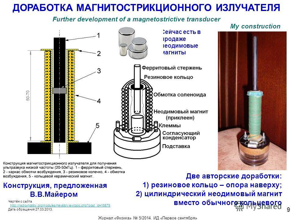 ДОРАБОТКА МАГНИТОСТРИКЦИОННОГО ИЗЛУЧАТЕЛЯ Сейчас есть в продаже неодимовые магниты Конструкция, предложенная В.В.Майером Две авторские доработки: 1) резиновое кольцо – опора наверху; 2) цилиндрический неодимовый магнит вместо обычного кольцевого Черт