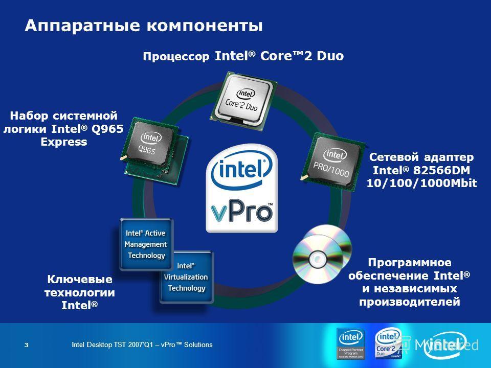 Intel Desktop TST 2007Q1 – vPro Solutions 3 Процессор Intel ® Core2 Duo Набор системной логики Intel ® Q965 Express Сетевой адаптер Intel ® 82566DM 10/100/1000Mbit Программное обеспечение Intel ® и независимых производителей Ключевые технологии Intel