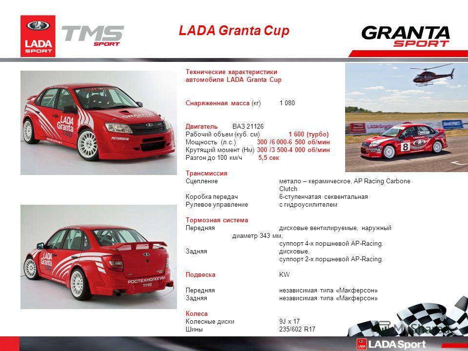 LADA Granta Cup Технические характеристики автомобиля LADA Granta Cup Снаряженная масса (кг) 1 080 Двигатель ВАЗ 21126 Рабочий объем (куб. см) 1 600 (турбо) Мощность (л.с.) 300 /6 000-6 500 об/мин Крутящий момент (Нм) 300 /3 500-4 000 об/мин Разгон д