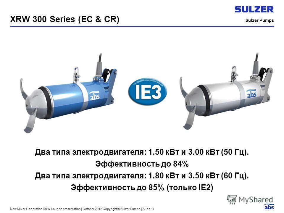 Sulzer Pumps New Mixer Generation XRW Launch presentation | October 2012 Copyright © Sulzer Pumps | Slide 11 XRW 300 Series (EC & CR) Два типа электродвигателя: 1.50 к Вт и 3.00 к Вт (50 Гц). Эффективность до 84% Два типа электродвигателя: 1.80 к Вт