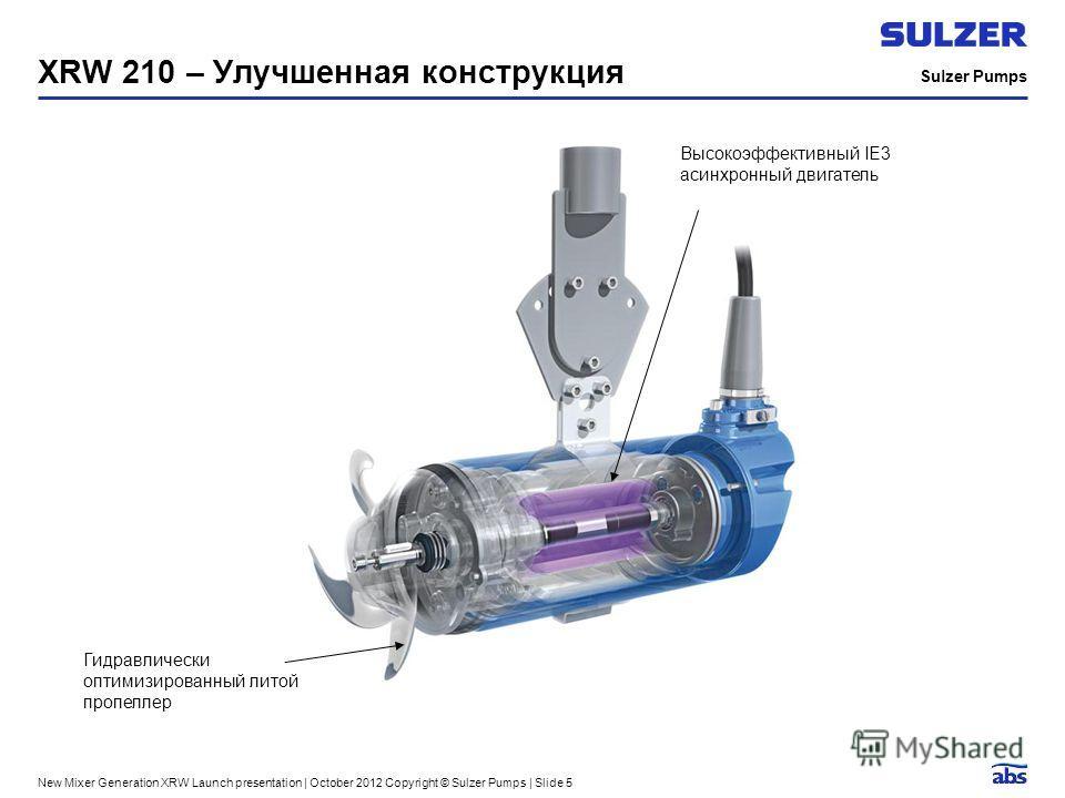 Sulzer Pumps New Mixer Generation XRW Launch presentation | October 2012 Copyright © Sulzer Pumps | Slide 5 XRW 210 – Улучшенная конструкция Гидравлически оптимизированный литой пропеллер Высокоэффективный IE3 асинхронный двигатель