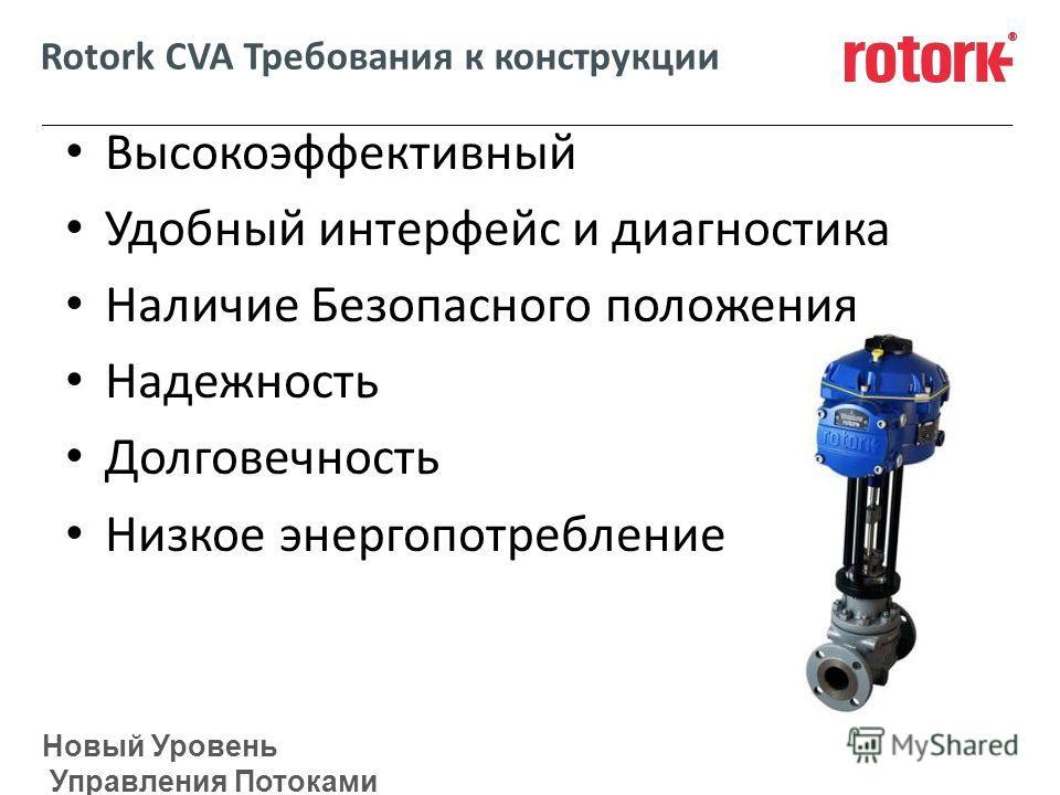 Новый Уровень Управления Потоками Rotork CVA Требования к конструкции Высокоэффективный Удобный интерфейс и диагностика Наличие Безопасного положения Надежность Долговечность Низкое энергопотребление