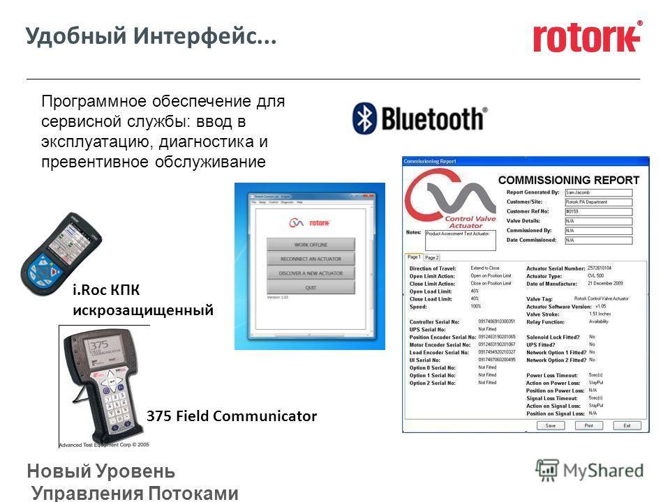Новый Уровень Управления Потоками Удобный Интерфейс... Программное обеспечение для сервисной службы: ввод в эксплуатацию, диагностика и превентивное обслуживание 375 Field Communicator i.Roc КПК искрозащищенный