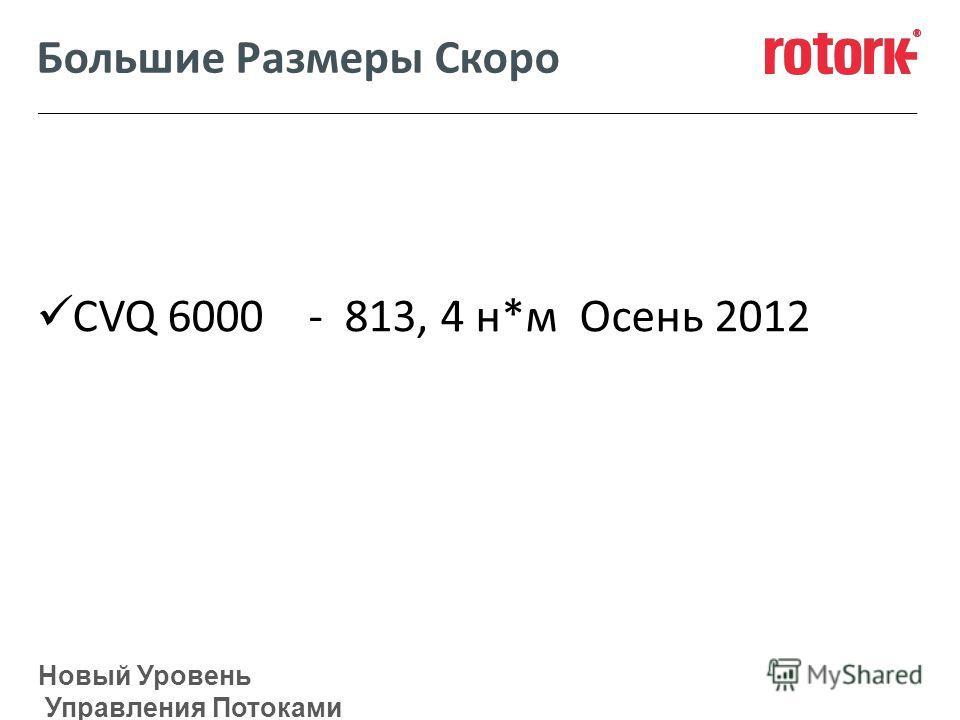 Новый Уровень Управления Потоками Большие Размеры Скоро CVQ 6000 - 813, 4 н*м Осень 2012