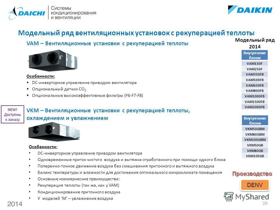 Особенности: DC-инверторное управление приводом вентилятора Опциональный датчик CO 2 Опциональные высокоэффективные фильтры (F6-F7-F8) Производство DENV VAM – Вентиляционные установки с рекуперацией теплоты Модельный ряд 2014 VKM – Вентиляционные уст
