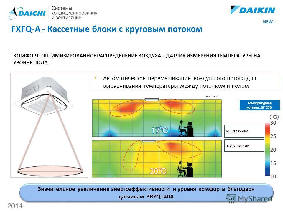 КОМФОРТ: ОПТИМИЗИРОВАННОЕ РАСПРЕДЕЛЕНИЕ ВОЗДУХА – ДАТЧИК ИЗМЕРЕНИЯ ТЕМПЕРАТУРЫ НА УРОВНЕ ПОЛА Автоматическое перемешивание воздушного потока для выравнивания температуры между потолком и полом Температурная уставка: 20°CDB БЕЗ ДАТЧИКА С ДАТЧИКОМ FXFQ