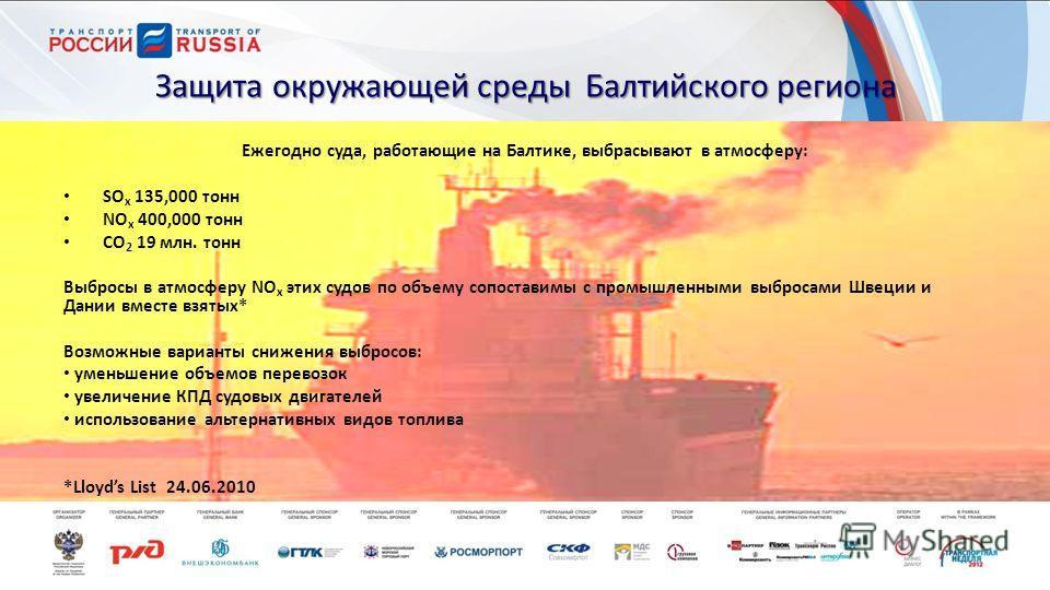Защита окружающей среды Балтийского региона Ежегодно суда, работающие на Балтике, выбрасывают в атмосферу: SO x 135,000 тонн NO x 400,000 тонн CO 2 19 млн. тонн Выбросы в атмосферу NO x этих судов по объему сопоставимы с промышленными выбросами Швеци