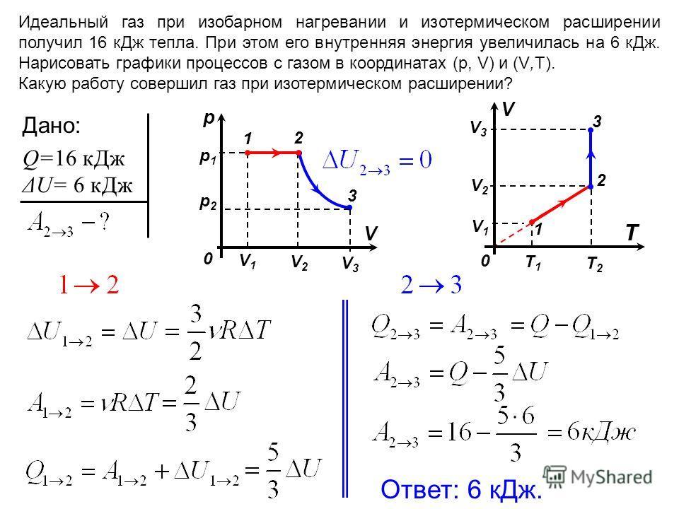 T1T1 T2T2 V1V1 V2V2 Идеальный газ при изобарном нагревании и изотермическом расширении получил 16 к Дж тепла. При этом его внутренняя энергия увеличилась на 6 к Дж. Нарисовать графики процессов с газом в координатах (р, V) и (V,Т). Какую работу совер