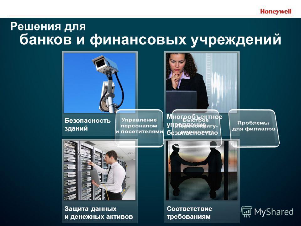 18 Безопасность зданий Многообъектное управление безопасностью Защита данных и денежных активов Соответствие требованиям Решения для банков и финансовых учреждений