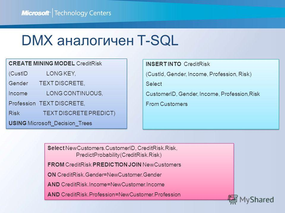 DMX аналогичен T-SQL CREATE MINING MODEL CreditRisk (CustID LONG KEY, Gender TEXT DISCRETE, Income LONG CONTINUOUS, Profession TEXT DISCRETE, Risk TEXT DISCRETE PREDICT) USING Microsoft_Decision_Trees CREATE MINING MODEL CreditRisk (CustID LONG KEY,