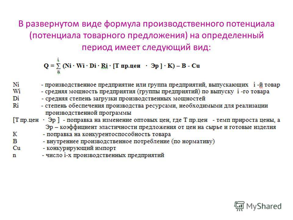 В развернутом виде формула производственного потенциала (потенциала товарного предложения) на определенный период имеет следующий вид: