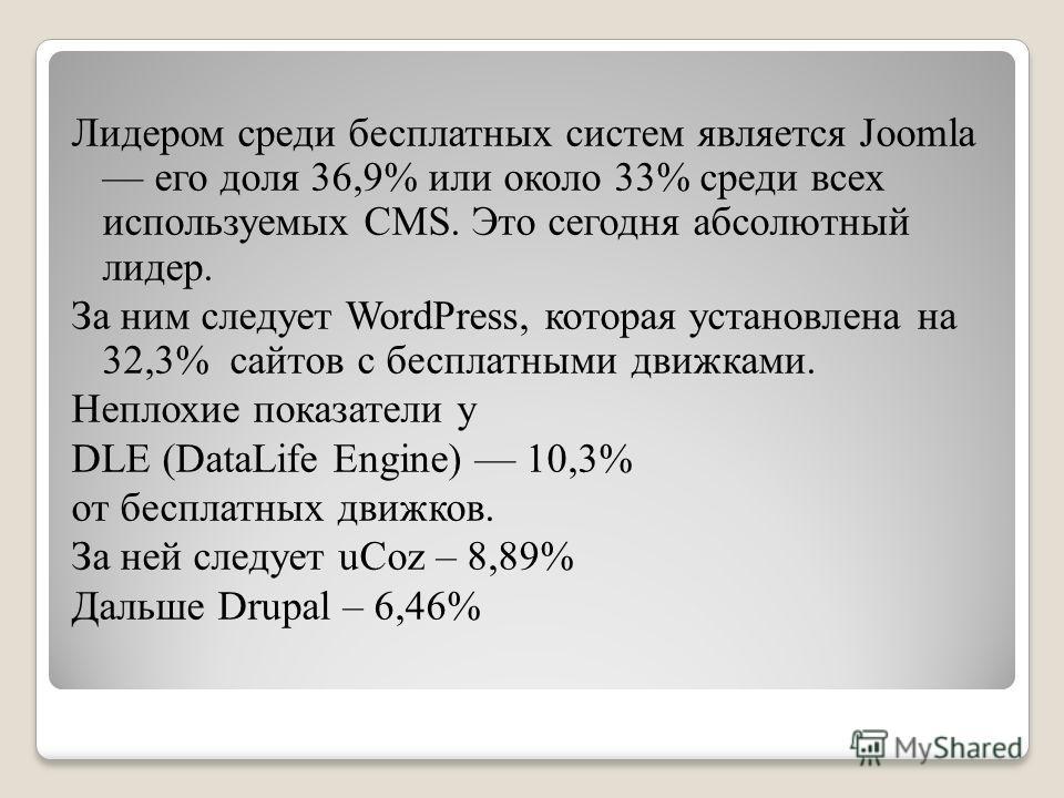 Лидером среди бесплатных систем является Joomla его доля 36,9% или около 33% среди всех используемых CMS. Это сегодня абсолютный лидер. За ним следует WordPress, которая установлена на 32,3% сайтов с бесплатными движками. Неплохие показатели у DLE (D