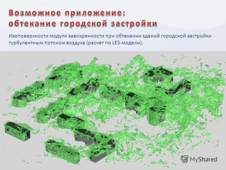 Изоповерхности модуля завихренности при обтекании зданий городской застройки турбулентным потоком воздуха (расчет по LES-модели).
