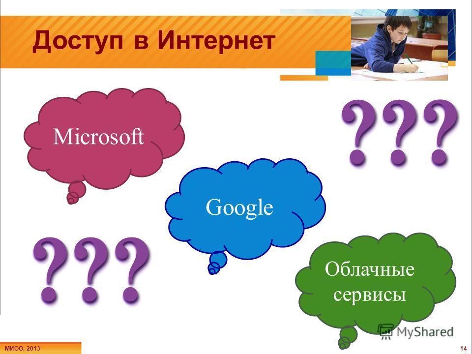 Доступ в Интернет МИОО, 2013 14 Microsoft Google Облачные сервисы ???? ?? ??????