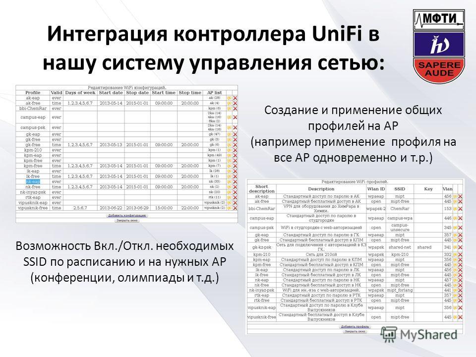 Интеграция контроллера UniFi в нашу систему управления сетью: Возможность Вкл./Откл. необходимых SSID по расписанию и на нужных AP (конференции, олимпиады и т.д.) Создание и применение общих профилей на AP (например применение профиля на все AP однов