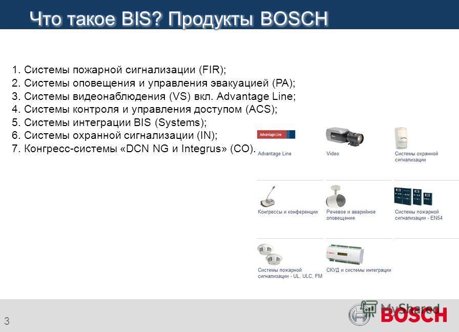 3 1. Системы пожарной сигнализации (FIR); 2. Системы оповещения и управления эвакуацией (PA); 3. Системы видеонаблюдения (VS) вкл. Advantage Line; 4. Системы контроля и управления доступом (ACS); 5. Системы интеграции BIS (Systems); 6. Системы охранн