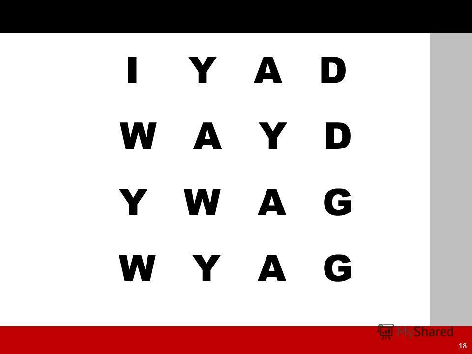 I Y A D W A Y D Y W A G W Y A G 18