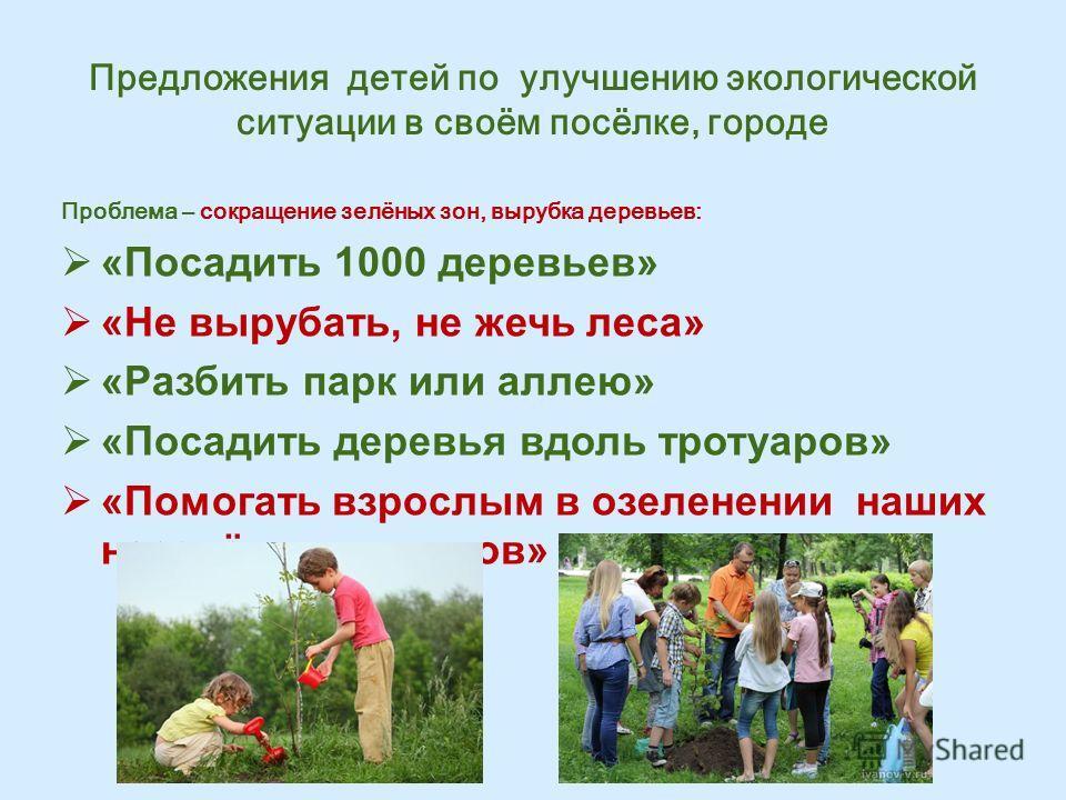 Предложения детей по улучшению экологической ситуации в своём посёлке, городе Проблема – сокращение зелёных зон, вырубка деревьев: «Посадить 1000 деревьев» «Не вырубать, не жечь леса» «Разбить парк или аллею» «Посадить деревья вдоль тротуаров» «Помог