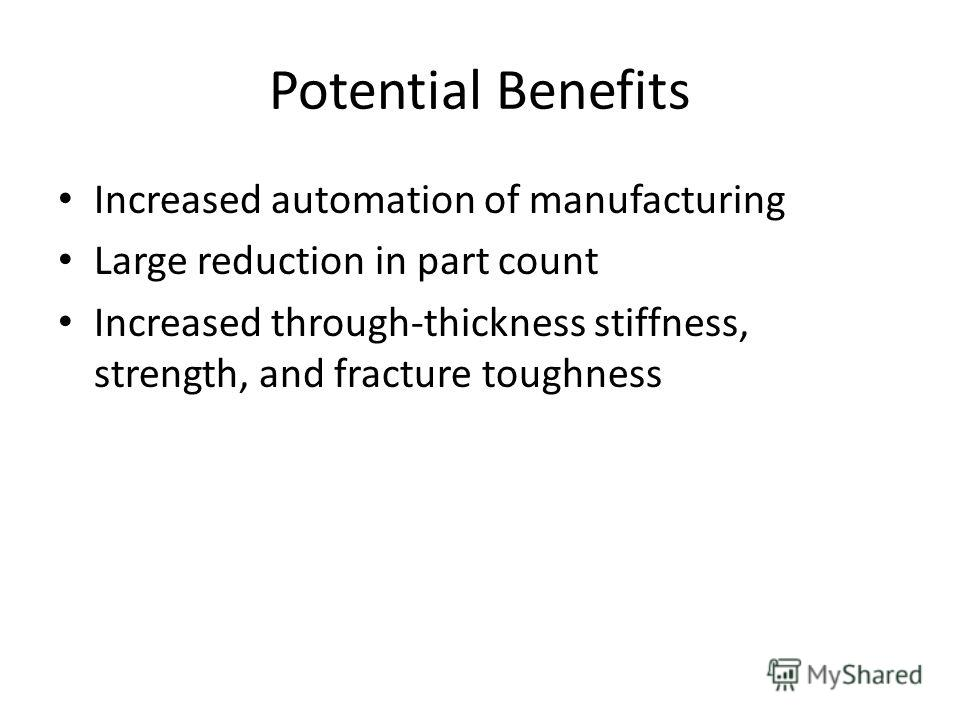Potential Benefits Increased automation of manufacturing Large reduction in part count Increased through-thickness stiffness, strength, and fracture toughness
