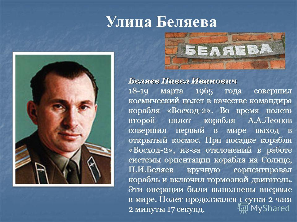 Беляев Павел Иванович 18-19 марта 1965 года совершил космический полет в качестве командира корабля «Восход-2». Во время полета второй пилот корабля А.А.Леонов совершил первый в мире выход в открытый космос. При посадке корабля «Восход-2», из-за откл