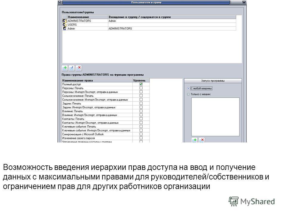 Возможность введения иерархии прав доступа на ввод и получение данных с максимальными правами для руководителей/собственников и ограничением прав для других работников организации