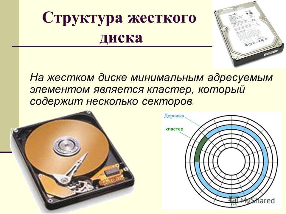 Структура жесткого диска На жестком диске минимальным адресуемым элементом является кластер, который содержит несколько секторов.