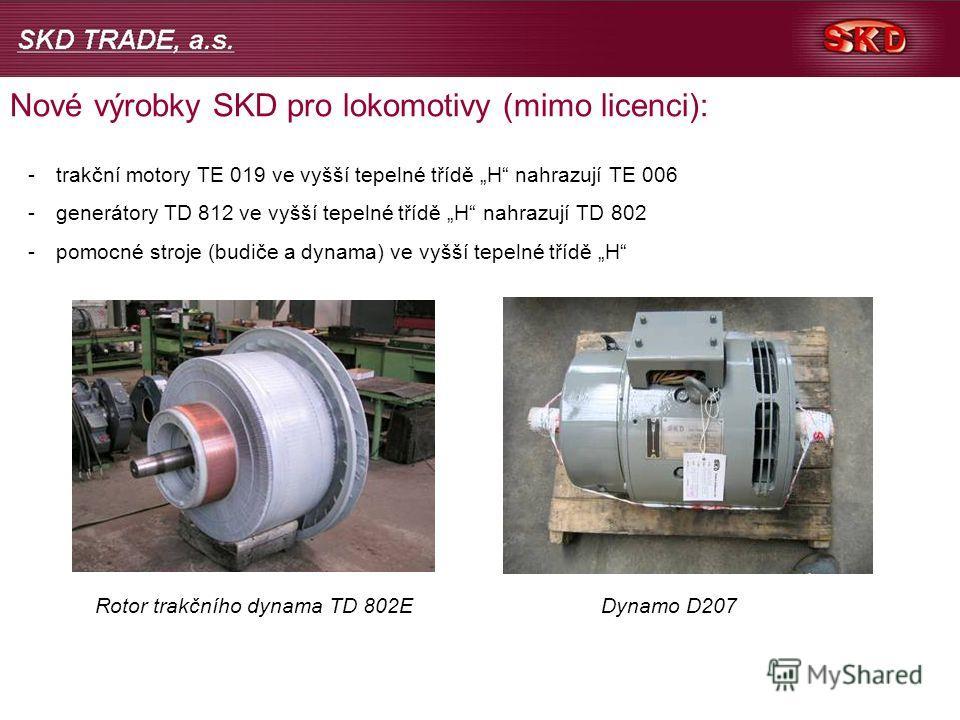 Nové výrobky SKD pro lokomotivy (mimo licenci): -trakční motory TE 019 ve vyšší tepelné třídě H nahrazují TE 006 -generátory TD 812 ve vyšší tepelné třídě H nahrazují TD 802 -pomocné stroje (budiče a dynama) ve vyšší tepelné třídě H Rotor trakčního d