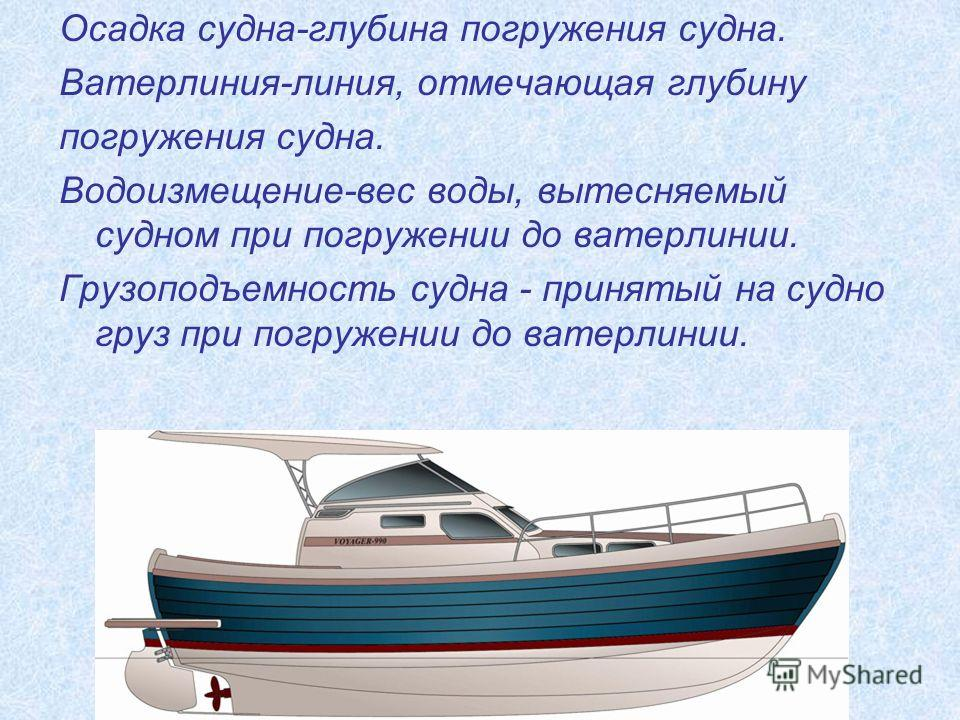 Осадка судна-глубина погружения судна. Ватерлиния-линия, отмечающая глубину погружения судна. Водоизмещение-вес воды, вытесняемый судном при погружении до ватерлинии. Грузоподъемность судна - принятый на судно груз при погружении до ватерлинии.