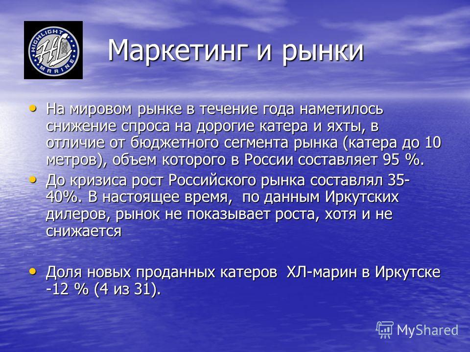 Маркетинг и рынки На мировом рынке в течение года наметилось снижение спроса на дорогие катера и яхты, в отличие от бюджетного сегмента рынка (катера до 10 метров), объем которого в России составляет 95 %. На мировом рынке в течение года наметилось с