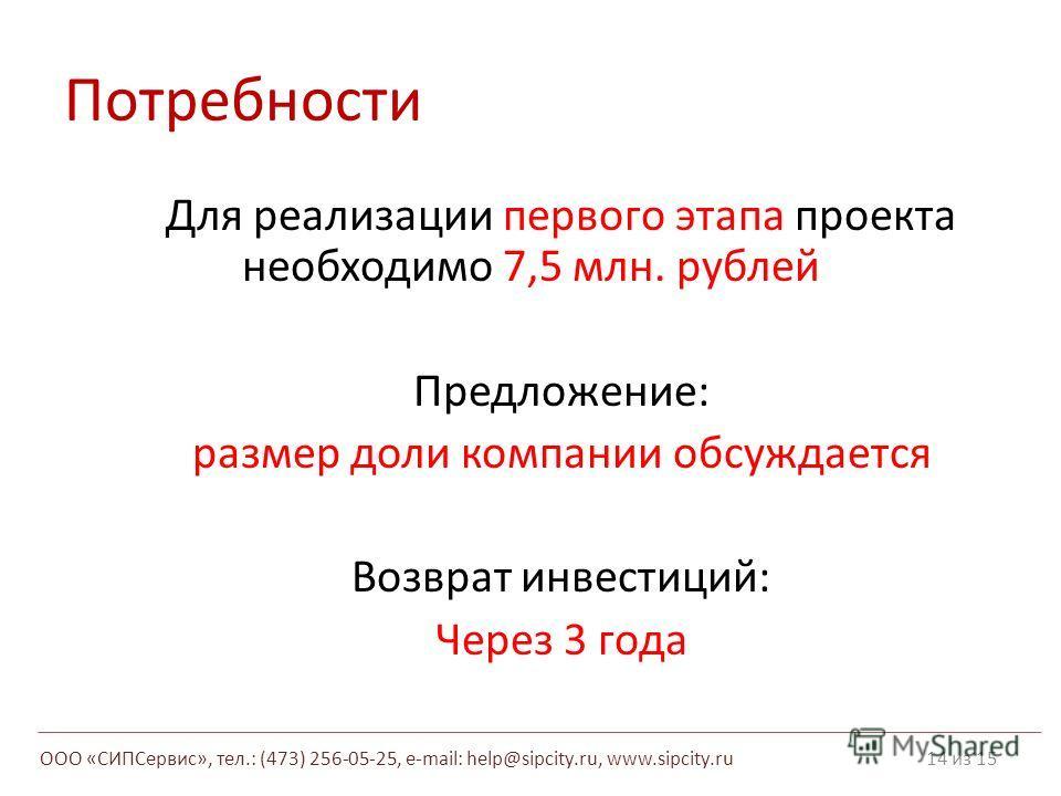 Потребности Для реализации первого этапа проекта необходимо 7,5 млн. рублей Предложение: размер доли компании обсуждается Возврат инвестиций: Через 3 года 14 из 15 ООО «СИПСервис», тел.: (473) 256-05-25, e-mail: help@sipcity.ru, www.sipcity.ru