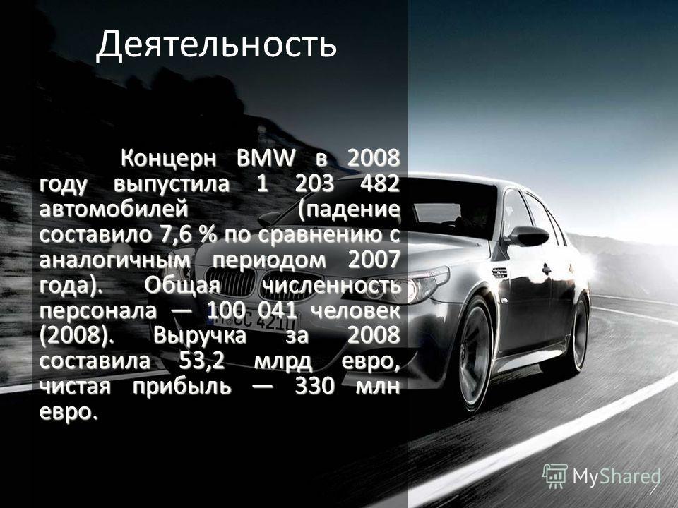 Концерн BMW в 2008 году выпустила 1 203 482 автомобилей (падение составило 7,6 % по сравнению с аналогичным периодом 2007 года).Общая численность персонала 100 041 человек (2008). Выручка за 2008 составила 53,2 млрд евро, чистая прибыль 330 млн евро.
