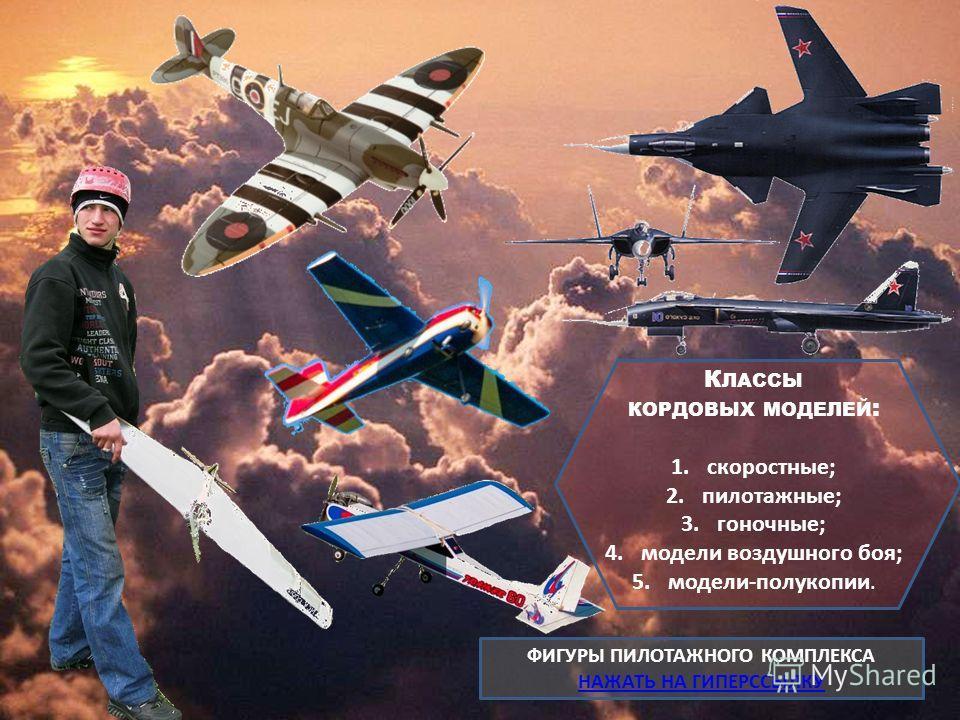 К ЛАССЫ КОРДОВЫХ МОДЕЛЕЙ : 1.скоростные; 2.пилотажные; 3.гоночные; 4. модели воздушного боя; 5.модели-полукопии. ФИГУРЫ ПИЛОТАЖНОГО КОМПЛЕКСА НАЖАТЬ НА ГИПЕРССЫЛКУ НАЖАТЬ НА ГИПЕРССЫЛКУ