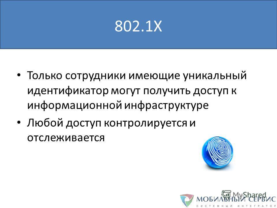 802.1X Только сотрудники имеющие уникальный идентификатор могут получить доступ к информационной инфраструктуре Любой доступ контролируется и отслеживается
