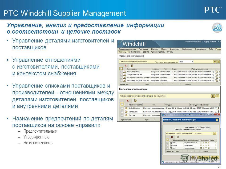 23 PTC Windchill Supplier Management Управление деталями изготовителей и поставщиков Управление отношениями с изготовителями, поставщиками и контекстом снабжения Управление списками поставщиков и производителей - отношениями между деталями изготовите