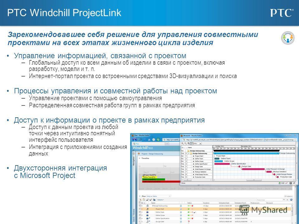 24 PTC Windchill ProjectLink Управление информацией, связанной с проектом – Глобальный доступ ко всем данным об изделии в связи с проектом, включая разработку, модели и т. п. – Интернет-портал проекта со встроенными средствами 3D-визуализации и поиск