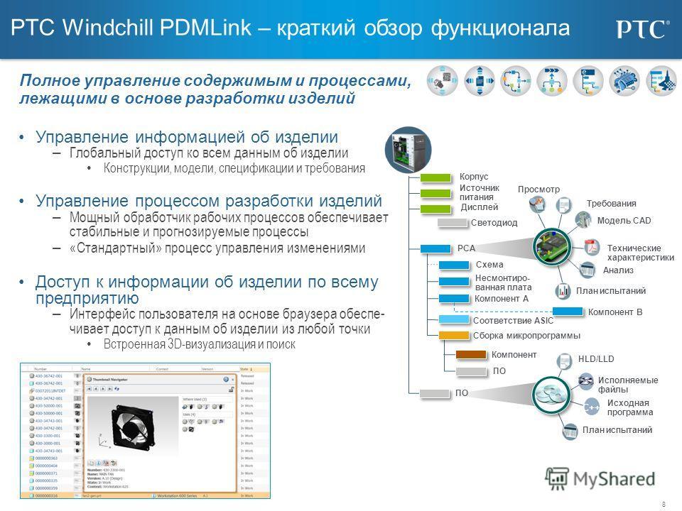 8 PTC Windchill PDMLink – краткий обзор функционала Управление информацией об изделии – Глобальный доступ ко всем данным об изделии Конструкции, модели, спецификации и требования Управление процессом разработки изделий – Мощный обработчик рабочих про