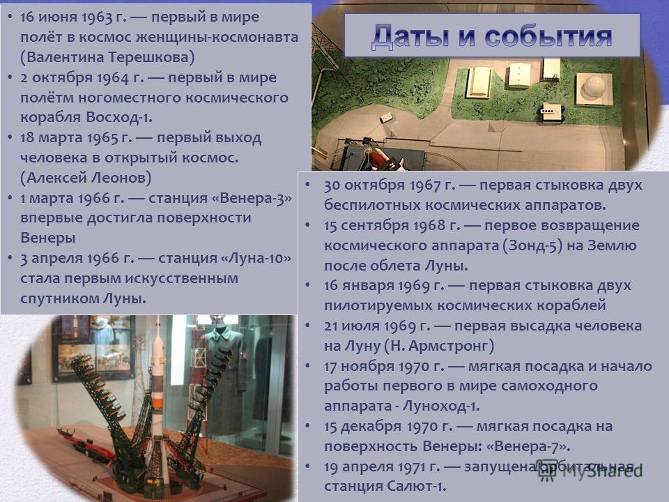 16 июня 1963 г. первый в мире полёт в космос женщины-космонавта (Валентина Терешкова) 2 октября 1964 г. первый в мире полётм ногоместного космического корабля Восход-1. 18 марта 1965 г. первый выход человека в открытый космос. (Алексей Леонов) 1 март