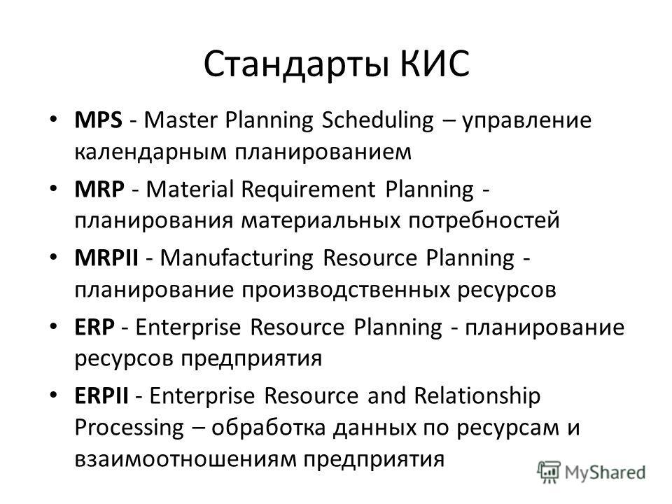 Стандарты КИС MPS - Master Planning Scheduling – управление календарным планированием MRP - Material Requirement Planning - планирования материальных потребностей MRPII - Manufacturing Resource Planning - планирование производственных ресурсов ERP -