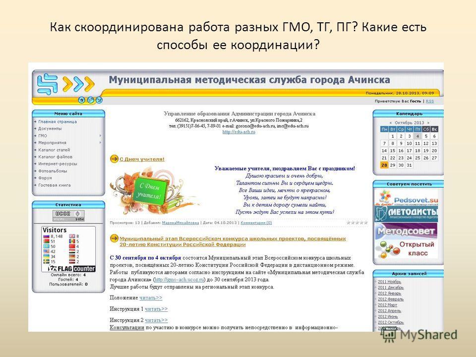 Как скоординирована работа разных ГМО, ТГ, ПГ? Какие есть способы ее координации? Методический портал???