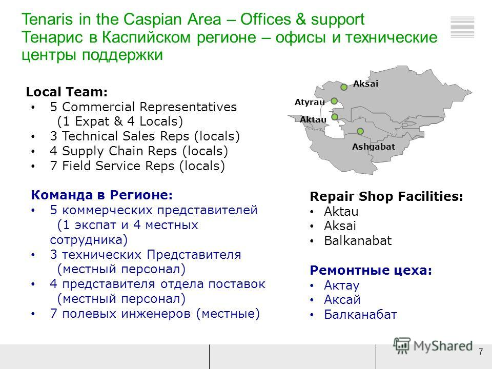 7 Tenaris in the Caspian Area – Offices & support Тенарис в Каспийском регионе – офисы и технические центры поддержки Local Team: 5 Commercial Representatives (1 Expat & 4 Locals) 3 Technical Sales Reps (locals) 4 Supply Chain Reps (locals) 7 Field S