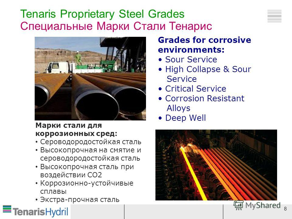 8 Tenaris Proprietary Steel Grades Специальные Марки Стали Тенарис Grades for corrosive environments: Sour Service High Collapse & Sour Service Critical Service Corrosion Resistant Alloys Deep Well Марки стали для коррозионных сред: Сероводородостойк