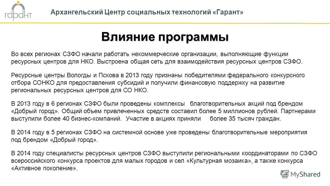 Влияние программы Архангельский Центр социальных технологий «Гарант» Во всех регионах СЗФО начали работать некоммерческие организации, выполняющие функции ресурсных центров для НКО. Выстроена общая сеть для взаимодействия ресурсных центров СЗФО. Ресу